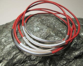 Coral Red Bangles, Silver and Coral Red Leather Thin Bracelets, Dark Salmon Red Leather Bangles, Dark Orange Leather and Silver Tube Bangles