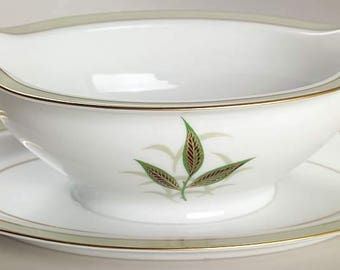 Noritake China - 5353 Greenbay - Gravy Boat with Attached Underplate - Mid Century China - Free Shipping