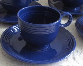 Fiesta Ware Homer Laughlin Cobalt Blue Coffee Cups and Saucers Set of Four (4) 1936-1951 Vintage Dinnerware and Replacements Imperfections