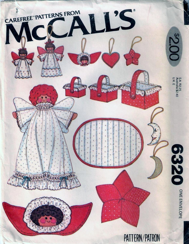 Vintage 70er Jahre McCall 6320 Weihnachtsschmuck Nähen Muster Angel ...