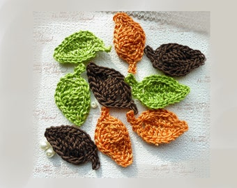 crocheted green, Brown and bronze leaves