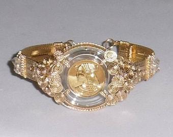 "Cleopatra 22kt Gold on silver FM Coin, 14kt yellow gold Bangle Bracelet 8 1/4"""