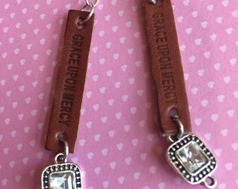 Grace Upon Mercy leather earrings with silver dangle