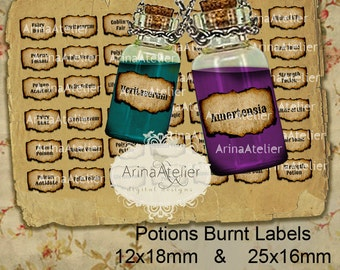 LABELS Potions Burnt Mini Labels -  12x18mm & 25x16mm - Harry Potter Potions Labels -  digital bottle labels - collage bottle labels - label