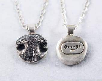 3D Silver Dog Nose Print Pendant on a keychain or necklace - YOUR Dog's Actual Nose Print, Pet Jewelry, Dog Nose Print, Pet Memorial Jewelry