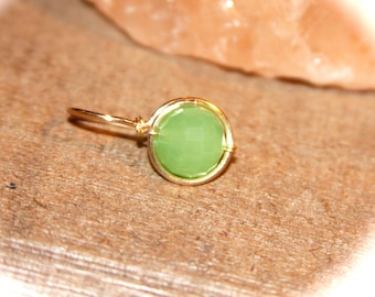 Belly Button Ring, Dainty Green Faceted Belly Button Ring, Belly Button Jewelry, 18 16  gauge Belly Button Hoop