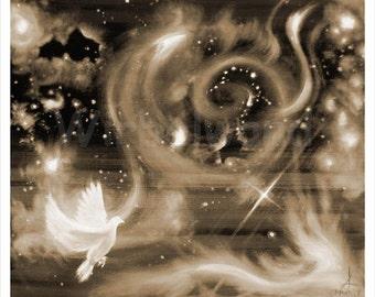 Kunstdruck eines Acryl- u. Ölgemäldes - Sternennebel (73 x 62 cm) Sepia-Farben