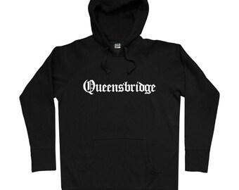 Queensbridge Gothic NYC Hoodie - Men S M L XL 2x 3x - Queensbridge Hoody, Sweatshirt, Queens, New York City, NYC - 4 Colors