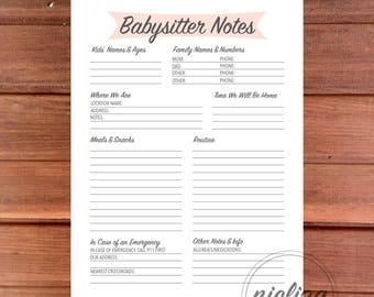 Babysitter Form, Babysitter Notes, Printable Babysitter Sheet, Babysitter Notes, Sitter Planner, Babysitter Checklist, Sitter Instructions
