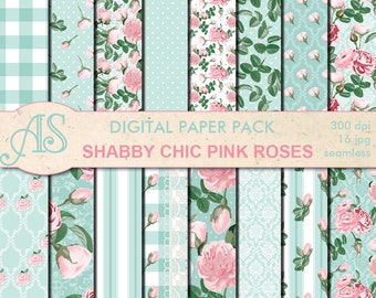Digital Shabby Chic Pink Roses Seamless Paper Pack, 16 printable Digital Scrapbooking papers, retro roses Collage, Instant Download, set 276