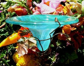 BUTTERFLY GIFT, stained glass, Butterfly FEEDER, copper garden, Aqua Green, Bird feeder, Garden stake, Garden Art