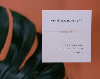 Friendship Bracelet - Pink moonstone - Friendship bracelet on Silk with 14k gold filled bead - light pink