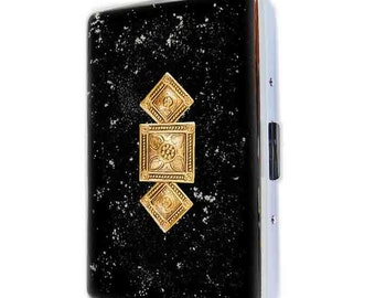 Metal Cigarette Case Antique Gold Art Deco Inspired Inlaid in Hand Painted Black Enamel Neo Victorian Metal Wallet Personalized Option