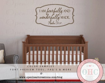 I Am Fearfully and Wonderfully Made Wall Decal - Baby Nursery Girl Boy Scripture Verse Poem Quote Saying 22h x 36w BA0391