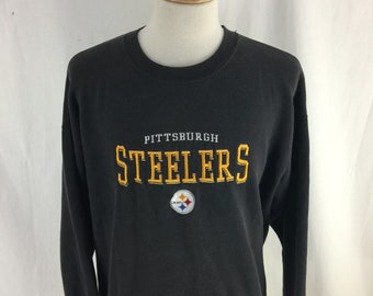 Vintage 90s Pittsburgh Steelers Black Faded Crew Neck Check Measurements Lee Sport