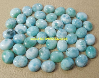 5 Pieces - Natural Larimar Smooth Oval Shape Cabochons - 12x10 MM Size - Larimar Cabochons - High Quality - Wholesalegems