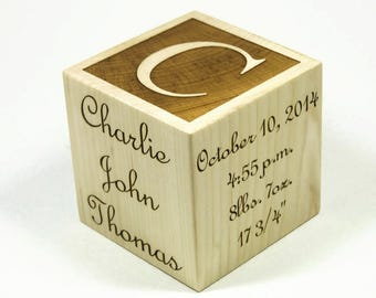 "Personalized Baby Block - 3"", Engraved Baby Block, Wooden Baby Block, Engraved Wood Block, Baby Keepsake"