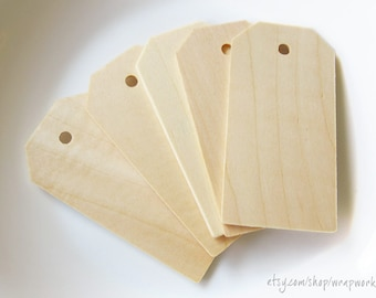 50 Natural Wood Gift Price Tags  3 1/4 inch
