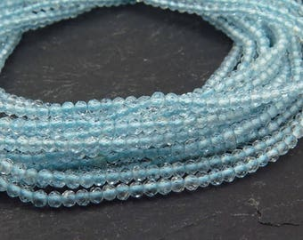 """AAA Sky Blue Topaz Faceted Rondelles 2mm ~ 13"""" Strand"""
