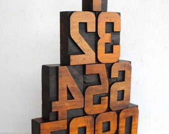 "FREE SHIPPING - 0 to 9 - Vintage Letterpress Wooden Blocks Collection, Large 2.6"" -LB74"
