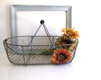 Vintage French Wire Basket Market Basket Wood Handle Fishing Basket Farmhouse Decor