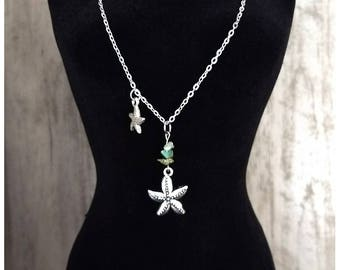 25 inch necklace with antique silver chain, green aventurine gemstones and silver starfish charms