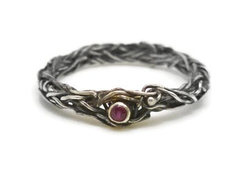 Ivy Ring with Tiny Ruby - Thin, Romantic, Sterling Silver Wreath Ring