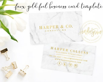 Faux Gold Foil Business Card Template - Marble Business Card Design - Small Business Branding - Business Card Template