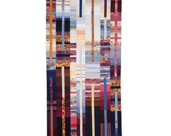 """Art Quilt, Quilt Art, Wallhanging. Rising #32 - Brick, Slate and Mortar. 60""""H x 30""""W. Pieced and quilted in 100% cotton, hanging sleeve."""