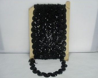 Black Sequin Trim / Over 12 Yards of Vintage Sparkly Black Sequin Trim