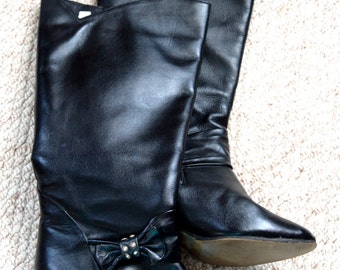 Black leather boots, Russian boots, black boots style, soviet boots, leather boots 80', size 9 boots, vintage boots women, Knee High Boots