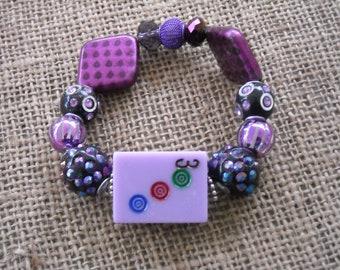Idée de cadeau Bracelet - livraison - Jesse James perles - violet Mahjong - bijou Oriental - Mahjong cadeau gratuit - Mahjong