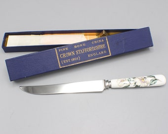 Crown Staffordshire Fine Bone China and Stainless Steel Knife in Box Floral Handle