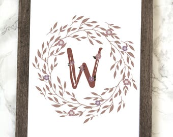Monogram Letter W Printable, Floral Monogram Letter W Printable, Letter W Wall Art, Letter W Printable, Monogram Printable, Initial Print