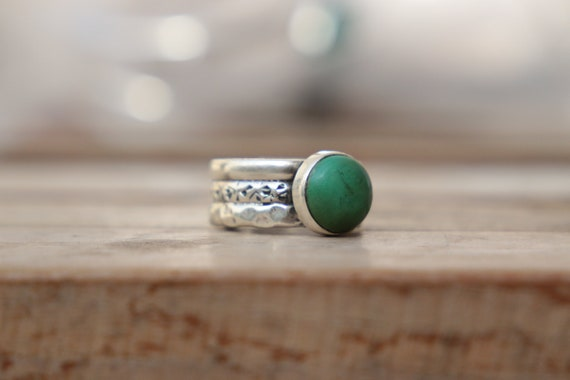 RUSTIC TURQUOISE RING - Adjustable - Sterling Silver - Hammered Ring - Vintage style - Handmade Stack ring - Birthstone - Natural - Gift