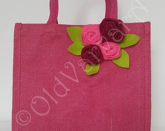 Jute Bag. Luxury Hot Pink Hand-crafted Jute Gift Shopping Bag-Natural Hessian-Soft Handles (30.5x30.5x20cm)