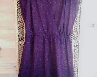 Vintage 1970s Sheer Plum Dress with Tiny Gold Dots//Size Extra Small•Small