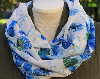 Infinity Scarf. Flower infinity scarf. Butterfly infinity scarf. Scarf. Floral infinity scarf. Blue scarf. Gift. Blue infinity scarf