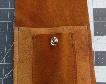 Deerskin Reclaimed Leather Tool Pouch-Snap Top-2 Pocket-Tools-Purse-Rivet Pouch