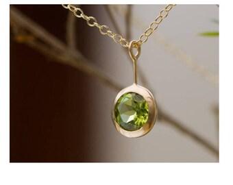 Quartz Peridot Necklace