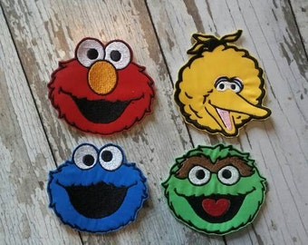 READY TO SHIP!!! Set of four - Sesame Street Inspired Applique Iron On Patch Medium Size 4x4!