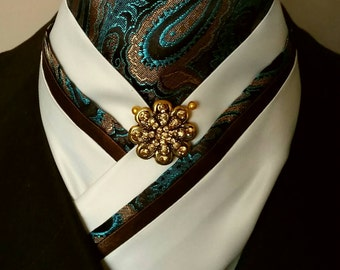Doc's Designs Ivory, Teal and Chocolate Paisley Dressage Stock Tie