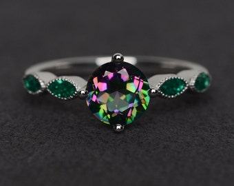 mystic topaz ring engagement ring silver rainbow topaz ring promise ring round cut