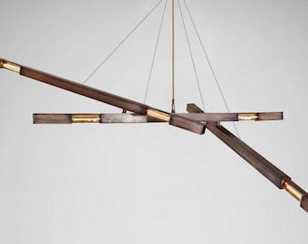 3 Branch Dynamic Deluxe Stilk Chandelier in Speciality Brass Finish   Custom Modern Lighting   Designer Chandelier   Pendant Lamp  
