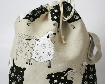 Drawstring Knitting Project Bag. LUCKY SHEEP. Special KnitterBag design.