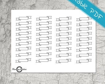 Small Twisted Banner Planner Stickers - Printable