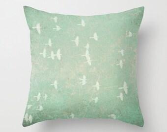 Vintage Birds pillowcase - Chic Home Decor  - Vintage Photograph throw pillow - flock of birds - green throw pillow
