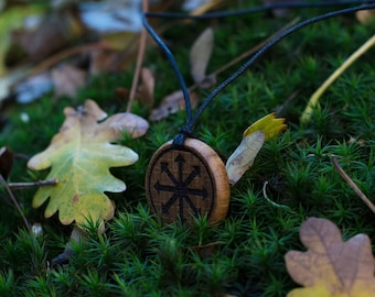 Black Star of Chaos or The Symbol of Eight Handmade Pendant Carved From Solid Oak Wood & Burned.