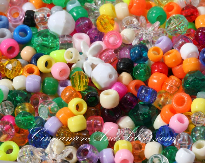 50 Pack Multicolored Variety Starflake, Pony, and Faceted Plastic Beads for Jewelry Crafts