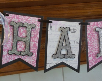 Pennant Happy Birthday Banner, Pink and Black Silver pennant banner, any age banner, 21st Birthday Banner, Sweet 16 Birthday